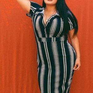 Rebdolls Striped Bodycon Midi Dress - Size Large